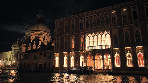 Architecture of Venice at night View from the Central Canal Footage