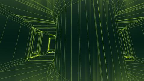 Sci-Fi Corridor System Futuristic Wireframe Design 6 Animation
