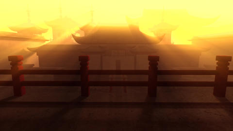 Traditional Chinese Inner Courtyard Beauty Godrays 1 Animation