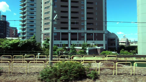 Japan Railway train window. Train window with a view of the train garage Live Action