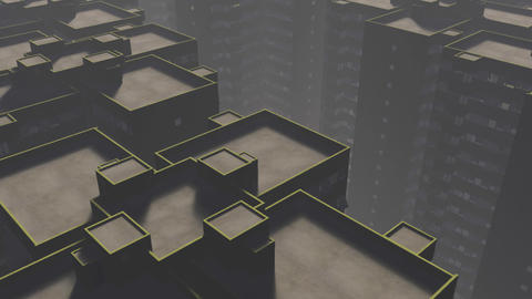 Overpopulated City Block Buildings Animation