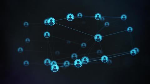 Rotating Blue Profile Social Network on Dark Backdrop Animation