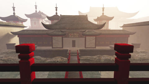 Traditional Chinese Inner Courtyard 3D Animation 2 Stock Video Footage