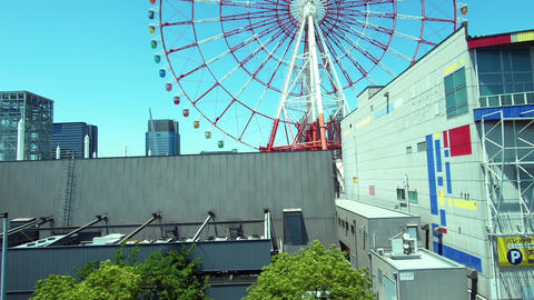 Japan city landscape. Near the waterfront city of Odaiba in Japan Live Action