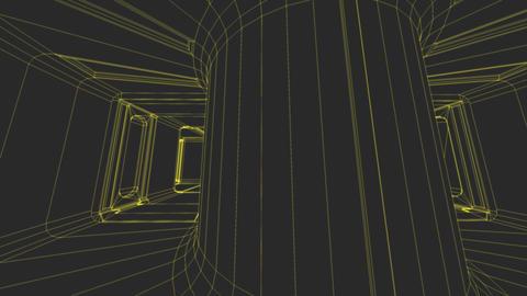 Sci-Fi Corridor System Futuristic Wireframe Design 5 Animation