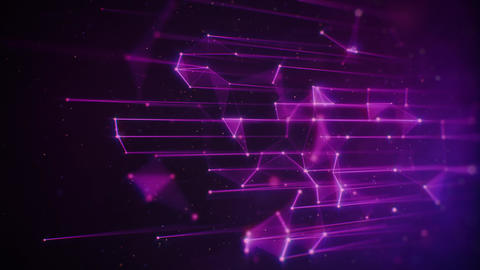 Vertical Hi-Tech Purple Plexus Lines and Particles on Dark Background Animation