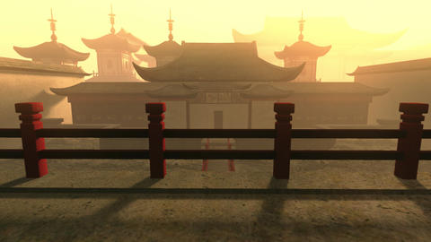 Traditional Chinese Inner Courtyard Sunset 3D Animation 2 Animation