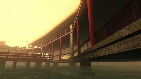 Traditional Chinese Inner Courtyard Sunset 3D Animation 1 Animation