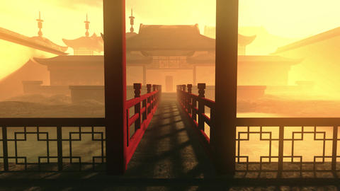 Traditional Chinese Inner Courtyard Sunset 3D Animation 5 Animation