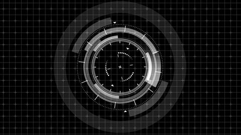 Futuristic game target. Aiming and military. Aim of sniper weapon. Monochrome digital display. Animation
