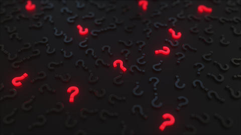 Glowing red question marks among black ones. Conceptual 3D animation Footage