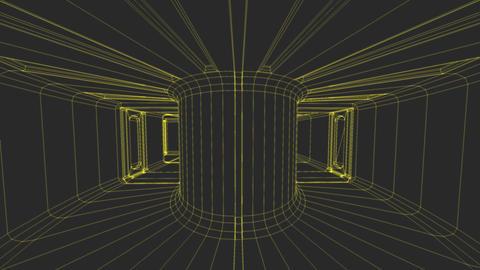Sci-Fi Corridor System Futuristic Wireframe Design 3 Animation