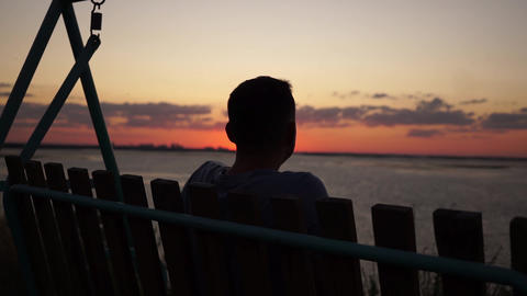 depressed sad male silhouette Contemplating Lonely Loneliness Sunset Sunrise Live Action