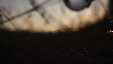 A male hand rolls a glass ball in the grass. Dramatic cinematic shot. Silhouette Footage