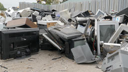 Electronic waste. Recycling center Live Action