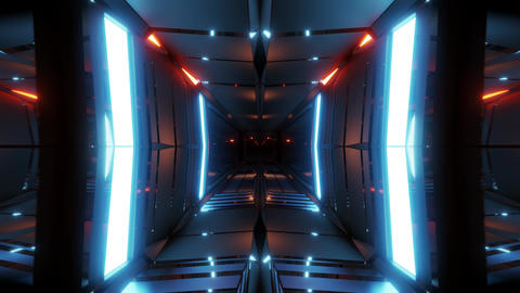 clean style tunnel corridor background with blue glow background 3d rendering vj Animation