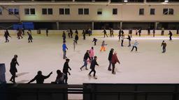 Ice skating rink. People ice skating Footage