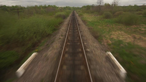 train POV railway track, rails, View from moving train window Landscape Mountain Live Action