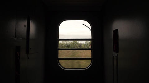 Train Window Glass. View from moving train side window Landscape Mountain Live Action
