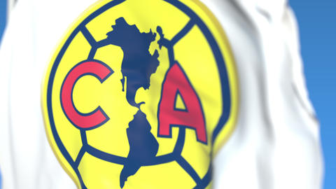 Waving flag with Club America football club logo, close-up. Editorial loopable Live Action