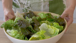 Woman is placing bowl of green salad leafs on a table Archivo