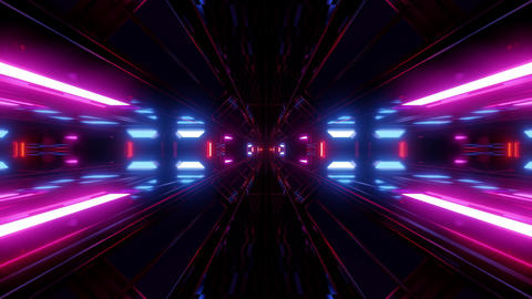 dark scifi tunnel with glowing lights 3d rendering background wallpaper Animation