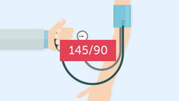 Blood pressure measuring (145/90). Cardiology 2D animation Animation