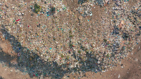 Aerial view. Garbage pile in trash dump. Environmental pollution from Live Action