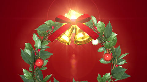 christmas wreath with shining light _ vermilion background Animation