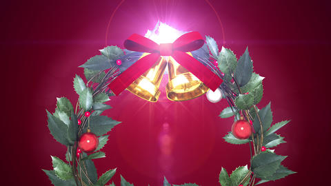 christmas wreath with shining light _ magenta background CG動画
