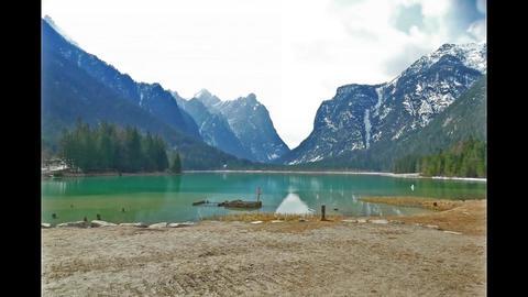 Toblacher See Lago di Dobbiaco lake Toblack South Tyrol Italy Mountain Mountains Live Action