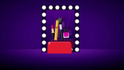 Glamorous red cosmetic bag. 2D animation Animation