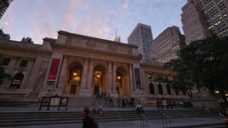 Nighttime Establishing Shot New York Public Library Footage