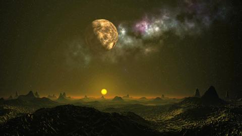 Alien sunset under the moon and nebula Animation