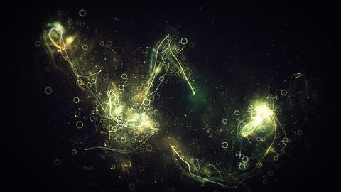 Looping glowing trails exploding particles and rings dancing in space Animation