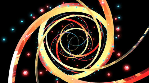 Shimmering ribbons and belts rotate with glowing spheres in space seamless loop Animation