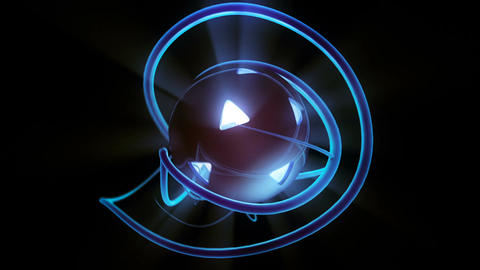 Rotating sphere of shining light with glowing twisting streaks seamless loop Animation