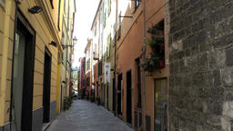Europe Italy Liguria Albenga 008 idyllic old town alley in downtown Footage
