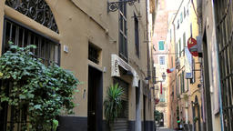 Europe Italy Liguria Albenga 014 curved old town alley in the old district of th Footage