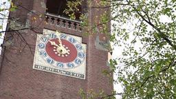 clock tower of the commodity exchange Beurs van Berlage in amsterdam Footage