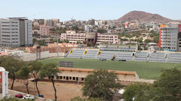 football field in the city Praia in Cape Verde Footage