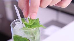 Preparing drink with mint Footage