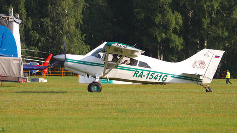 Maule M-7-235C Orion light aircrafts on airfield Live Action