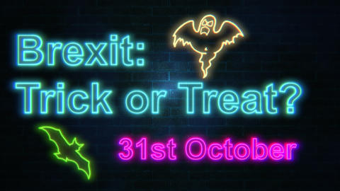 Brexit: Trick or Trick neon lettering flashing on brick wall Animation