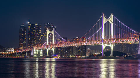 Timelaspe of Gwangan Bridge at Busan City,South Korea Live Action