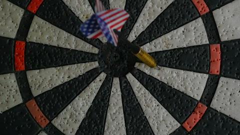 American darts arrows in target Live Action