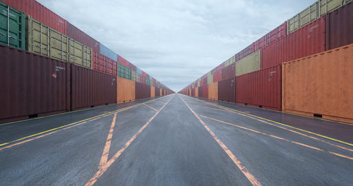 Infinite rows of cargo shipping containers under overcast sky Animation