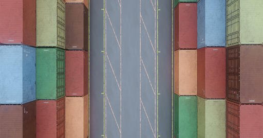 Drone filming rows of cargo shipping containers at transportation sea port Animation