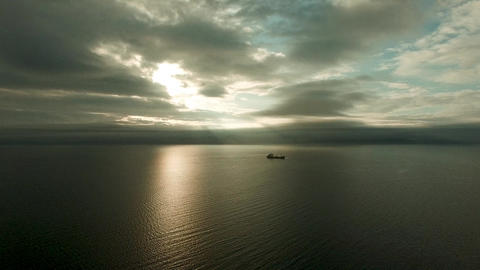 Air review of the sea landscape in the Amur Bay Live Action