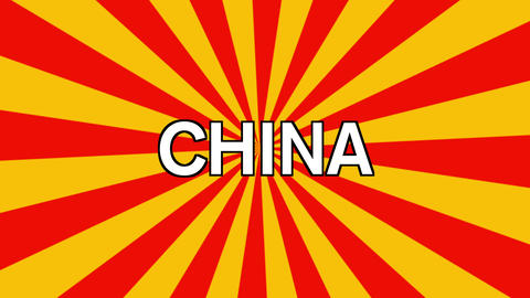 The word China in white on red and white animated sunbeam background Animation